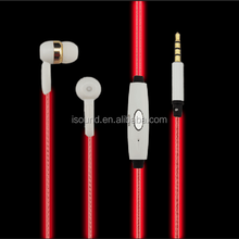 mobile accessories glowing el earphone led flashing earphone el flash light earphone