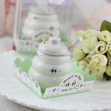 """Meant to Bee"" Ceramic Honey Pot + heart honey stirrer wedding favors and baby shower gifts Porcelain Honey Jar"