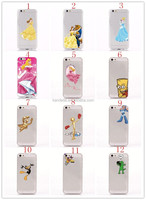 Cellphone Case For iPhone 5/5S for Snow White Girl Princess Cinderella Rapunzel Girl Frozen Elsa Anna Transparent Clear Cover