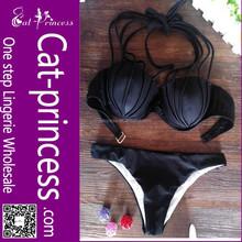 Classical black women lace push up top bikini