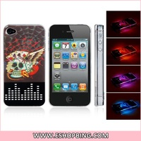 Call Flash Light 3D Poker Card Skull Protective Case for iphone 4 4S