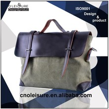 2015 China Ningbo wholesale leather and canvas briefcase with locks