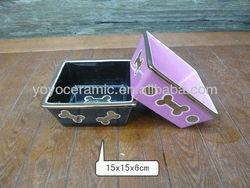 square shape ceramic pet feeding bowl