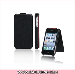HOCO Leather Royal Sense Pattern Up-down Open Style Flip Skin Cover Case for iphone 4G Black