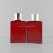 Red auluminum cap eliquid bottle glass dropper bottles 15ml 30ml empty rectangle glass bottles