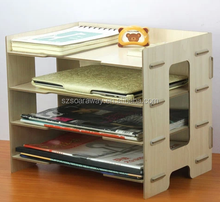 wooden High Quality Office Documents Display Stand wholesaler,Multifunctional 4-layer File Plate Folder Documents Box,Office Sto