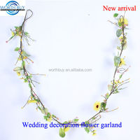 Yellow sunflower decorated plastic flower garland for wedding decoration