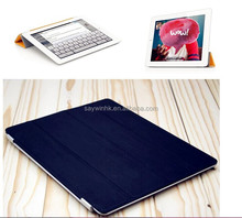 Folding kickstand slim smart tablet cover case with transparent back shell for iPad Mini(black)