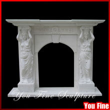 Indoor Decorative Stone Fireplace Mantles With Statue