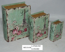 Elegant garden flowers on blue style upright wooden book box