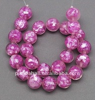 Resin with Shell Beads, Round, Magenta, 16x16x16mm, hole: 1mm, 25pcs/strand(RESI-R015-2-1)