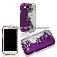 Cell Phone Case Cover Skin for Samsung I9300 Galaxy S3 AT&T,T-Mobile,Sprint,Verizon-Design Purple/Silver Vines
