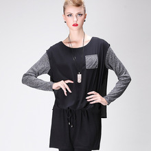 Hitz large round neck long-sleeved chiffon fashion knit dress wholesale move
