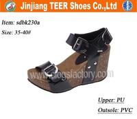 Women Low Price Black Wedge Heel Ladies Sandals