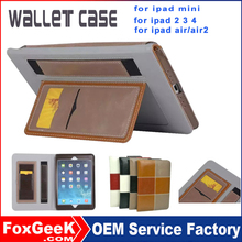 Handmade Genuine Real Leather Wallet Case Cover Credit Card Slots for iPad Air 2,Megnetic and with stand Tablets Leather Cases