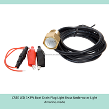 LED 3X3W Boat Drain Plug Light Brass Underwater Light