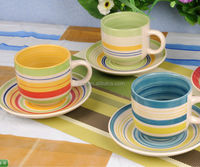 bright color hp brush design cup and saucer for coffee booth