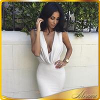 2015 Women Sexy Summer Dress Sleeveless White Cotton Bandage Maxi Necklace Dress vestido de festa Beige Party Dresses vestidos
