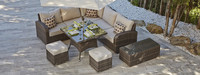 top sale outdoor high backrest dining / sofa set with footstools cheap rattan garden sofa