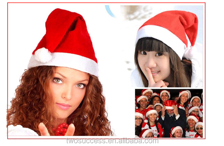 Red and White Deluxe Father Christmas Cap Party Santa Claus Hats.png