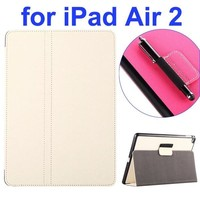 High Quality 2- folding Magnetic Flip Stand Denim Texture Leather Case for iPad Air 2 with a Hole for Holding Pen