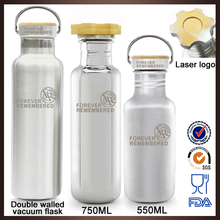 Promotional high quality 750ml heat-transfer logo double walled metal water bottle blue with printing logo
