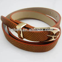 New design snakeleather women belt shiny gold pu eco-friendly leather ladies fashion fancy belt wholesale