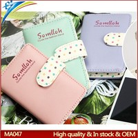 Lower USD 1 Visa card purse New design cute ladies pu holder with pvc card cover Hasp style with round dot