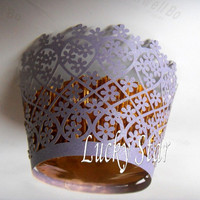 Purple Garden Flower laser cut paper cake cup muffin cupcake wrapper for Wedding birthday party