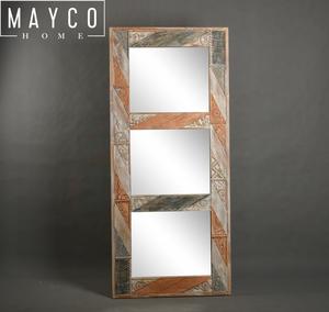 Mayco дом красочные потертый шик дома и сада деревянный ручной резьбой декоративное настенное зеркало