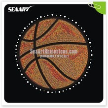 hottest basketball with glitter and rhinestone heat transfers design for garment