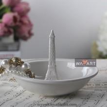 White Ceramic Elegant Eiffel Tower Decoration of Jewelry Holder