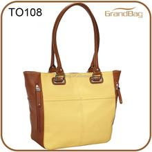 mixed color pebble grain women handbag shoulder tote pu leather bag