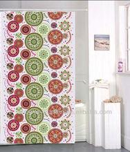 cortina de ducha de la tela de poliéster de la impresión de flor