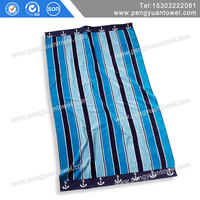 pengyuan wholesale jacquard white and blue stripe beach towels