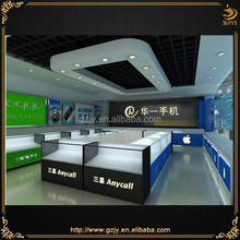 fashion wall mobile cell phone holder and glass cabinet for mobile phone shop interior design