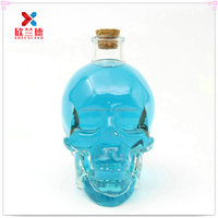 400ml skull clear glass wine Bottle with wooden cork for whisky/tequila/vodka/red wine