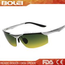 CE UV400 high quality aluminium night vision driving glasses