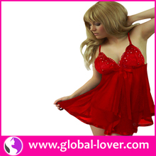 2015 factory price beautiful sexy hot red sequined womens babydoll