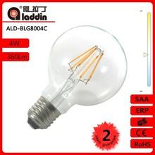 changzhou aladdin 360 Degree G80 E27 4W 4000K Globe LED Filament bulb