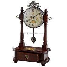 Home Decor Antique Rounded Brown Wooden Desktop Pendulum Clock