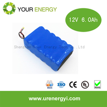 UL Certified 14.8V 6Ah 4S3P ICR18650 battery pack for LED series
