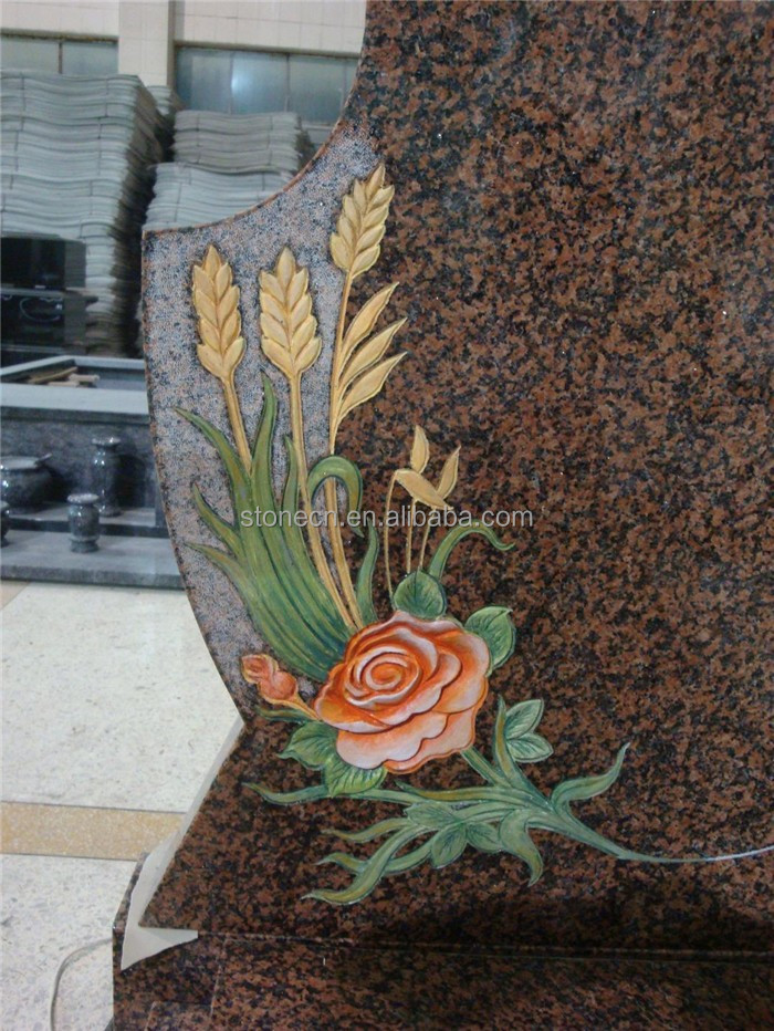 Beautiful flower carving granite headstones buy