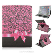 Fashionable Pink Leopard Cover with Bow Design PU Leather Flip Stand Tablet Covers &Case For iPad Air 2 with Elastic Belt