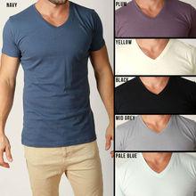 Mens Plain T Shirts Basic Tee Shirt V Shaped Neck