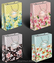 China style flower printing paper gift shopping bag