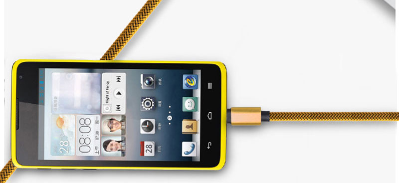 Colorful Fabric Nylon Braided Cloth Woven Metal Head Micro USB Data Charger 1m Cable