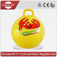 China manufacture bulk good quality yellow jump ball with handle for kids