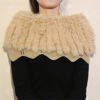 Korean Fashion Shawls Knitted Cape Real Rabbit Fur Handmade Crochet Shawls