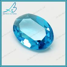 Low MOQ loose oval cut glass aquamarine gem stone
